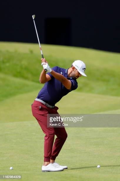 Erik Van Rooyen of South Africa plays a shot on the 18th hole during the second round of the 148th Open Championship held on the Dunluce Links at...