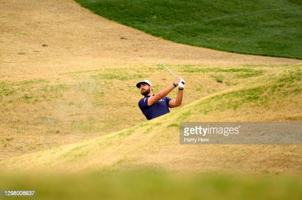 Erik van Rooyen of South Africa plays a shot on the second hole during the third round of The American Express tournament on the Stadium course at...