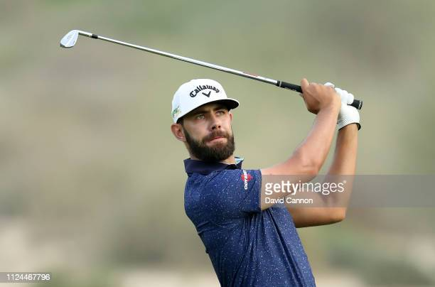 Erik Van Rooyen of South Africa plays his second shot on the 16th hole during the first round of the Omega Dubai Desert Classic on the Majlis Course...