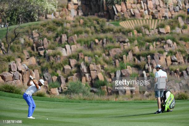 Erik van Rooyen of South Africa plays his second shot on the 17th hole during round one of the Hero Indian Open at the DLF Golf Country Club on March...