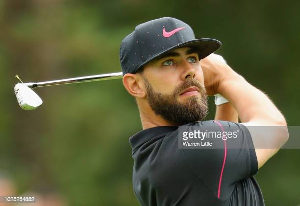 Erik van Rooyen of South Africa plays his second shot on the 18th hole during day one of the Made in Denmark played at the Silkeborg Ry Golf Club on...