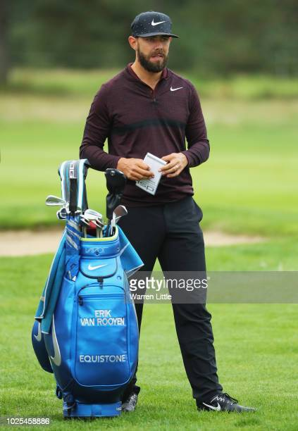 Erik van Rooyen of South Africa plays his second shot on the 9th hole during day two of the Made in Denmark played at the Silkeborg Ry Golf Club on...