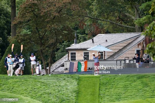 Erik van Rooyen of South Africa plays his shot from the 11th tee during the first round of the 120th U.S. Open Championship on September 17, 2020 at...