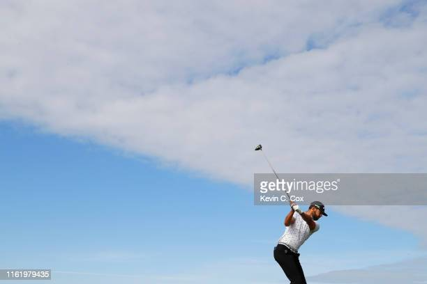 Erik van Rooyen of South Africa plays his shot from the 6th tee during the final round of the Aberdeen Standard Investments Scottish Open at The...