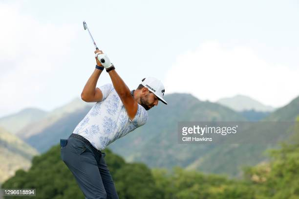 Erik van Rooyen of South Africa plays his shot from the seventh tee during the second round of the Sony Open in Hawaii at the Waialae Country Club on...