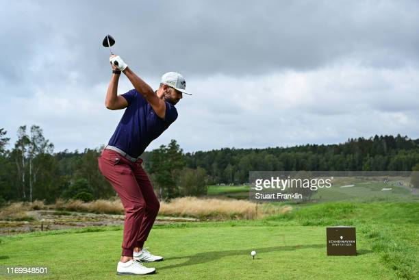Erik Van Rooyen of South Africa plays his tee shot on the third hole during Day three of the Scandinavian Invitation at The Hills and Sports Club on...