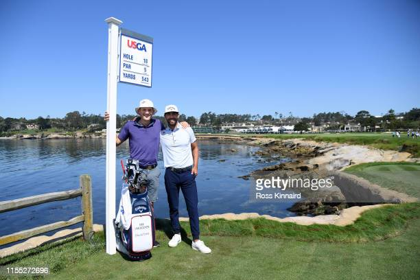 Erik van Rooyen of South Africa pose with his caddie Alex Gaugert during a practice round prior to the 2019 US Open at Pebble Beach Golf Links on...