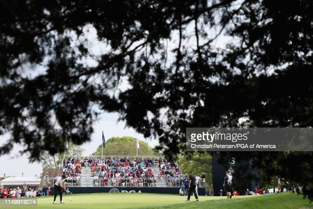 Erik van Rooyen of South Africa putts on the 13th green during the second round of the 2019 PGA Championship at the Bethpage Black course on May 17,...