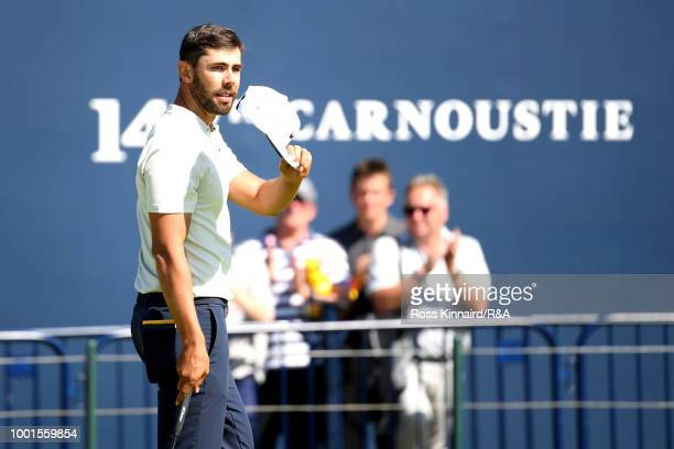Erik Van Rooyen of South Africa reacts after completing his first round during the 147th Open Championship at Carnoustie Golf Club on July 19, 2018...