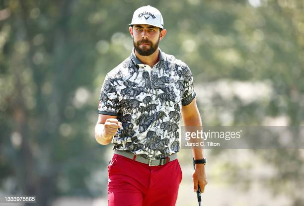 Erik van Rooyen of South Africa reacts after making birdie on the ninth green during the second round of the Wyndham Championship at Sedgefield...