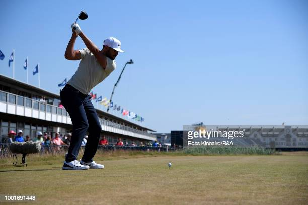 Erik Van Rooyen of South Africa tees off at the 18th hole during round one of the 147th Open Championship at Carnoustie Golf Club on July 19, 2018 in...