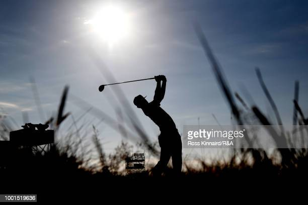 Erik Van Rooyen of South Africa tees off at the 4th hole during round one of the 147th Open Championship at Carnoustie Golf Club on July 19, 2018 in...