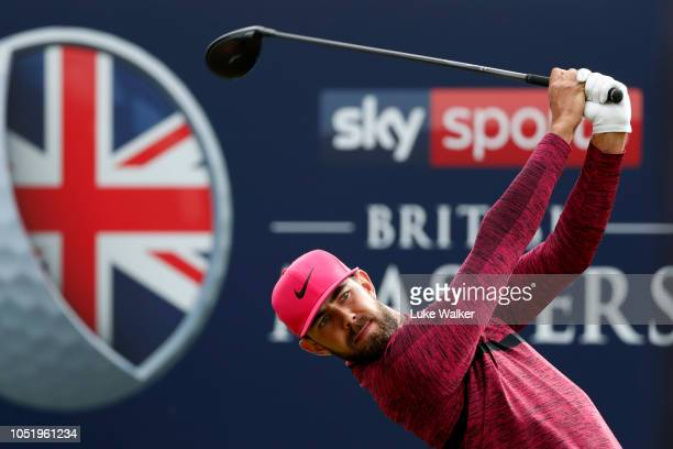 Erik van Rooyen of South Africa tees off on the 12th hole during Day Two of Sky Sports British Masters at Walton Heath Golf Club on October 12 2018...