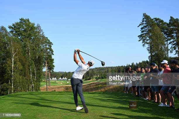 Erik Van Rooyen of South Africa tees off on the 18th hole during the final round of the Scandinavian Invitation at Hills Golf & Sports Club on August...