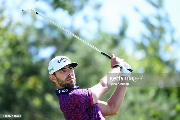 Erik van Rooyen of South Africa tees off on the seventh during Day Four of the D+D Real Czech Masters at Albatross Golf Resort on August 18, 2019 in...