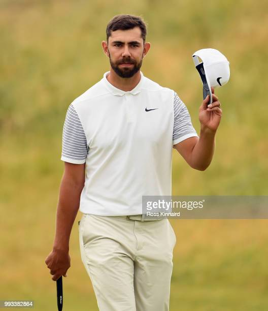 Erik van Rooyen of South Africa waves to the crowd on the 18th hole during the third round of the Dubai Duty Free Irish Open at Ballyliffin Golf Club...