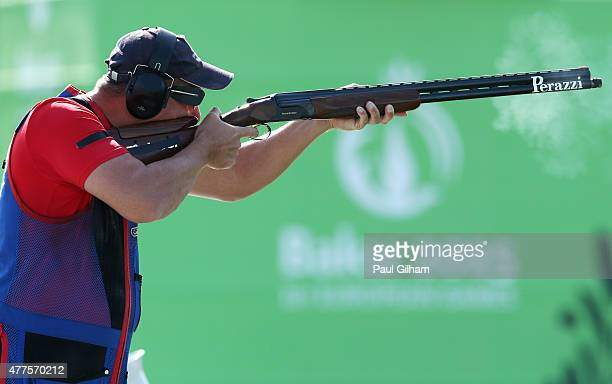 Erik Varga of Slovakia shoots in the Mixed Team Trap final against Russia during day six of the Baku 2015 European Games at the Baku Shooting Centre...