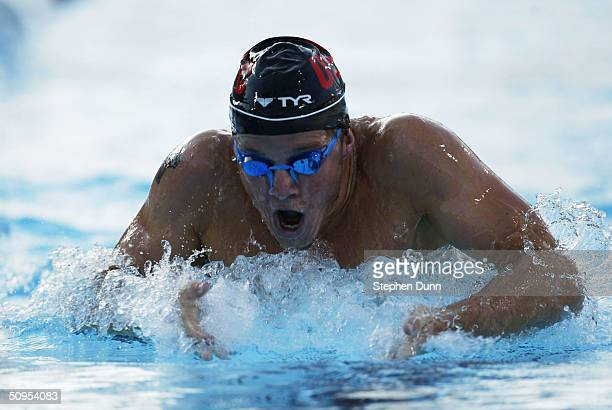 Erik Vendt swims the breaststroke leg of the men's 400 meter individual medley final during the 2004 Janet Evans Invitationsl on June 12 2004 at the...