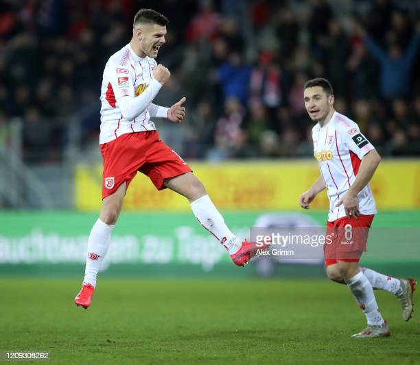 Erik Wekesser of Regensburg celebrates his team's first goal during the Second Bundesliga match between SSV Jahn Regensburg and SG Dynamo Dresden at...