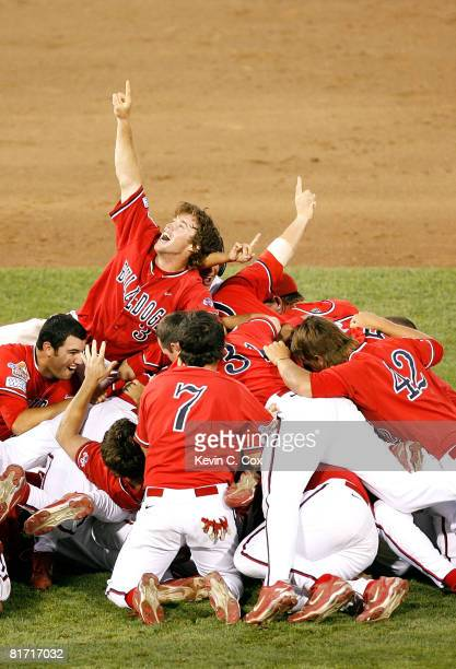 Erik Wetzel and the Fresno State Bulldogs celebrate a 61 win over the Georgia Bulldogs in Game 3 of the 2008 Men's College World Series Championship...