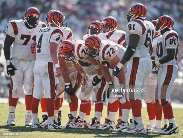 Erik Wilhelm Quarterback for the Cincinnati Bengals in the huddle with his offensive line during the American Football Conference West game against...