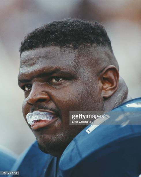 Erik Williams Tackle for the Dallas Cowboys bites on his mouthguard during the National Football Conference East game against the Phoenix Cardinals...