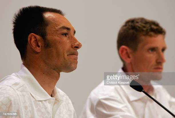 Erik Zabel and sporting director Rolf Aldag of T-Mobile attend a press conference on May 24, 2007 in Bonn, Germany. Former T-Mobile cyclists Erik...