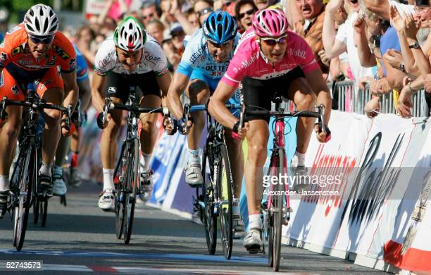 """Erik Zabel from the Team T-Mobile wins with a powerful final sprint the cycling race """"Rund um den Henninger Turm"""" on May 01, 2005 in Frankfurt,..."""