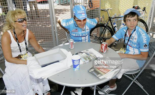 Erik Zabel of Germany and the Milram Team relaxes with his wife and his son before Stage 3 of the 93rd Tour de France between Esch-sur-Alzette and...