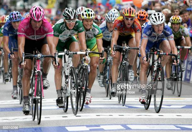 Erik Zabel of Germany in the team T-Mobile passes the finish line during the HEW Cyclassics on July 31, 2005 in Hamburg, Germany.