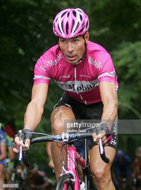 Erik Zabel of Germany rides his bike on the Waseberg during the HEW Cyclassics on July 31, 2005 in Hamburg, Germany.