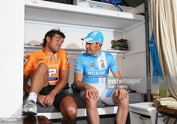 Erik Zabel of the Milram cycling team talks with Andreas Kappes of the GP Getranke Partner team in a riders cabin during the six day cycle race at...
