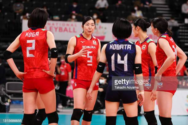Erika Araki of Japan speaks with her teammates during the women's international volleyball game between Japan and China at the Ariake Arena on May...