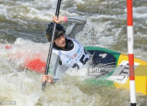 Erika Baranauskaite from Lithuania during the 1st Round Run in K1 Kayak Women U23 at the 2015 ECA Canoe Slalom U23 European Championship in Krakow...