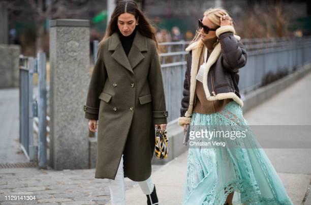 Erika Boldrin and Charlotte Groeneveld seen outside Zimmermann during New York Fashion Week Autumn Winter 2019 on February 11, 2019 in New York City.