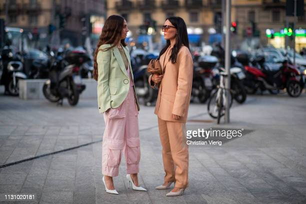 Erika Boldrin and Evangelie Smyrniotaki seen outside Alberta Ferretti on Day 1 Milan Fashion Week Autumn/Winter 2019/20 on February 20, 2019 in...