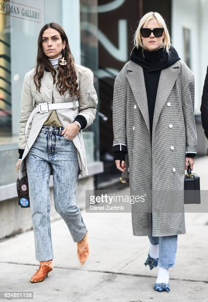 Erika Boldrin and Linda Tol are seen at the Tibi show during New York Fashion Week Women's Fall/Winter 2017 on February 11 2017 in New York City