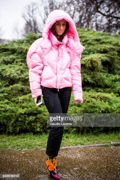 Erika Boldrin is seen before the Sacai show at the Grand Palais during Paris Fashion Week Womenswear Fall/Winter 2017/2018 on March 6 2017 in Paris...