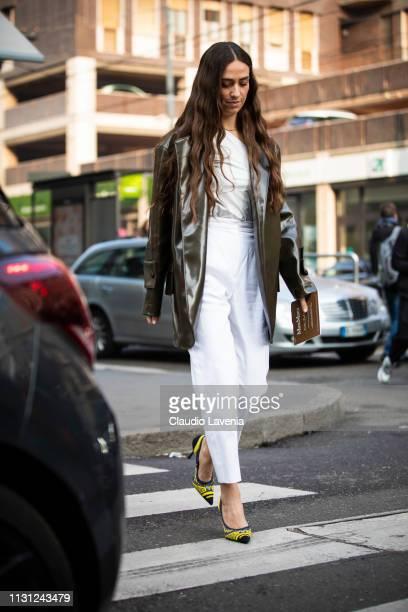 Erika Boldrin is seen outside Max Mara on Day 2 Milan Fashion Week Autumn/Winter 2019/20 on February 21 2019 in Milan Italy