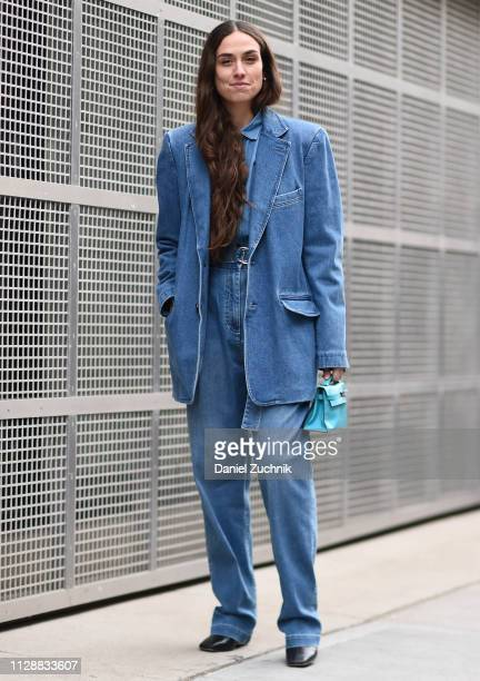 Erika Boldrin is seen wearing a jean jacket and outfit outside the Tibi show during New York Fashion Week: Fall/Winter 2019 on February 10, 2019 in...