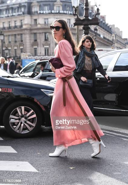 Erika Boldrin is seen wearing a pink Stella McCartney dress outside the Stella McCartney show during Paris Fashion Week SS20 on September 30, 2019 in...