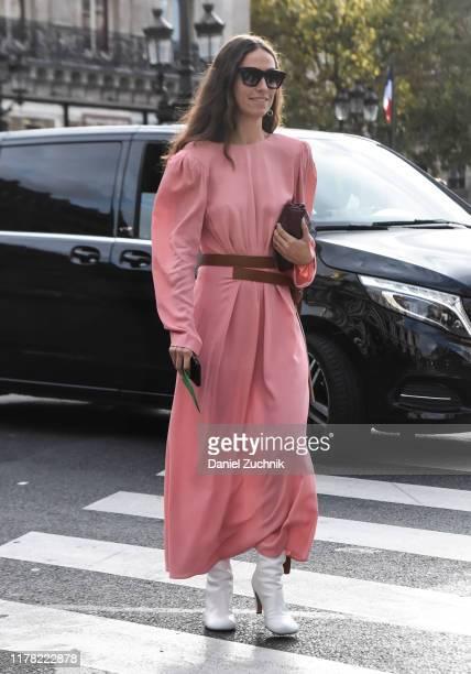 Erika Boldrin is seen wearing a pink Stella McCartney dress outside the Stella McCartney show during Paris Fashion Week SS20 on September 30 2019 in...