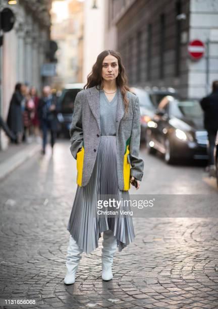 Erika Boldrin is seen wearing asymmetric skirt grey blazer outside Vivetta on Day 2 Milan Fashion Week Autumn/Winter 2019/20 on February 21 2019 in...