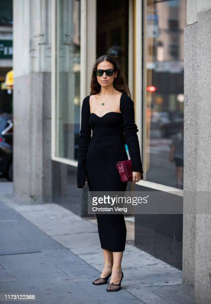 Erika Boldrin is seen wearing black dress outside Self-Portrait during New York Fashion Week September 2019 on September 07, 2019 in New York City.