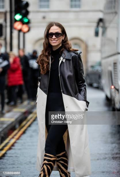 Erika Boldrin is seen wearing black white two tone coat Khaite boots with animal print outside Victoria Beckham during London Fashion Week February...