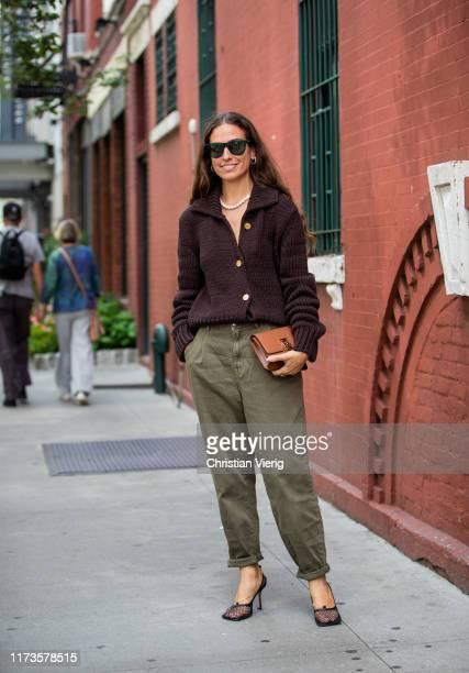 Erika Boldrin is seen wearing cardigan, olive pants outside Zimmermann during New York Fashion Week September 2019 on September 09, 2019 in New York...