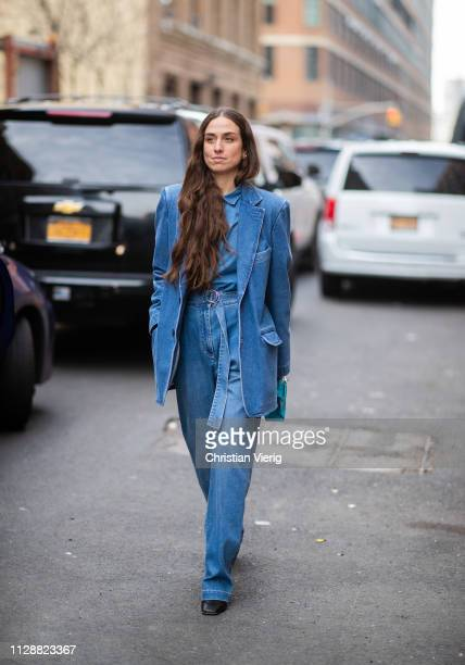 Erika Boldrin is seen wearing denim jacket jeans Hermes mini bag outside Tibi during New York Fashion Week Autumn Winter 2019 on February 10 2019 in...