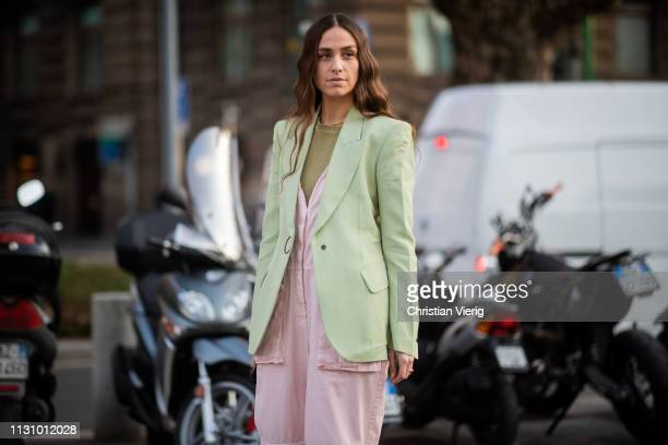 Erika Boldrin is seen wearing green blazer pink overall outside Alberta Ferretti on Day 1 Milan Fashion Week Autumn/Winter 2019/20 on February 20...