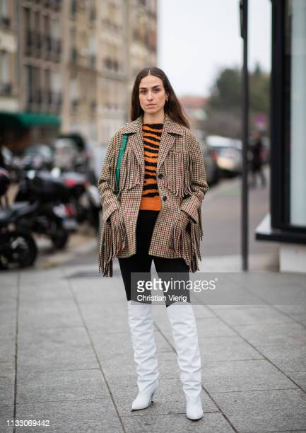 Erika Boldrin is seen wearing jacket with fringes outside Nina Ricci during Paris Fashion Week Womenswear Fall/Winter 2019/2020 on March 01 2019 in...