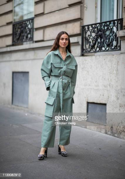 Erika Boldrin is seen wearing mint overall during Paris Fashion Week Womenswear Fall/Winter 2019/2020 on March 01, 2019 in Paris, France.